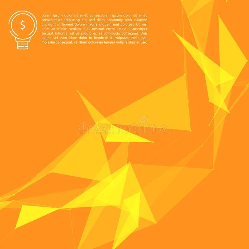 Maille abstraite jaune de réseau sur le fond orange avec Copyscape illustration stock