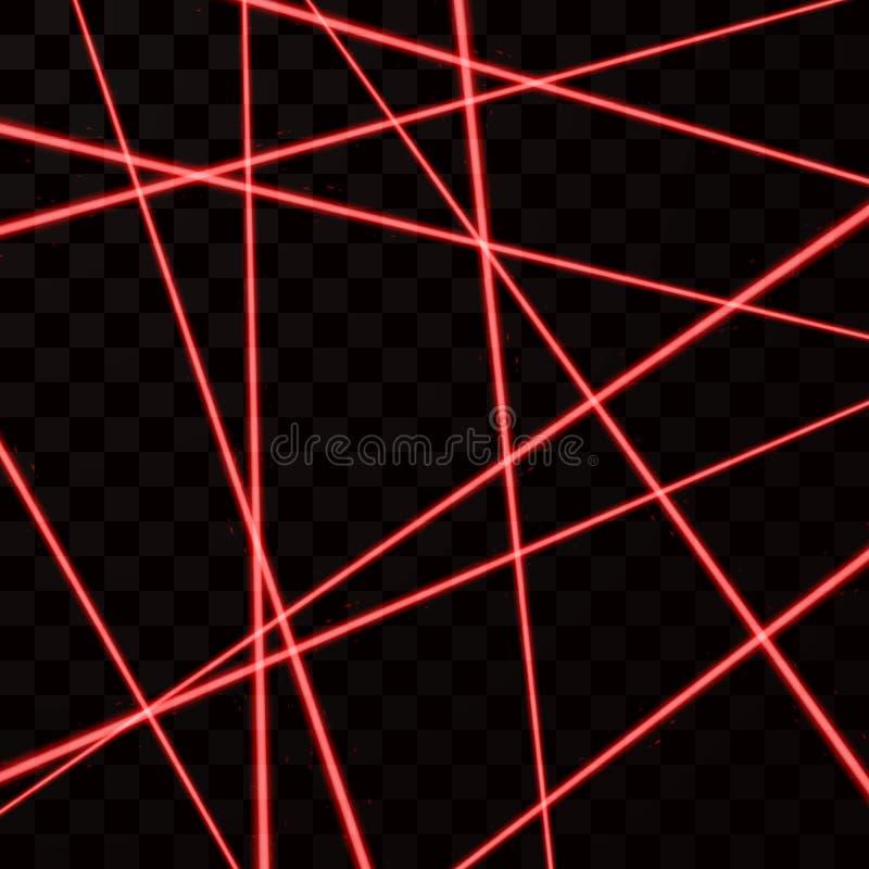 Maille aléatoire de laser de rouge Faisceaux de rouge de sécurité Illustration de vecteur d'isolement sur le fond foncé illustration libre de droits