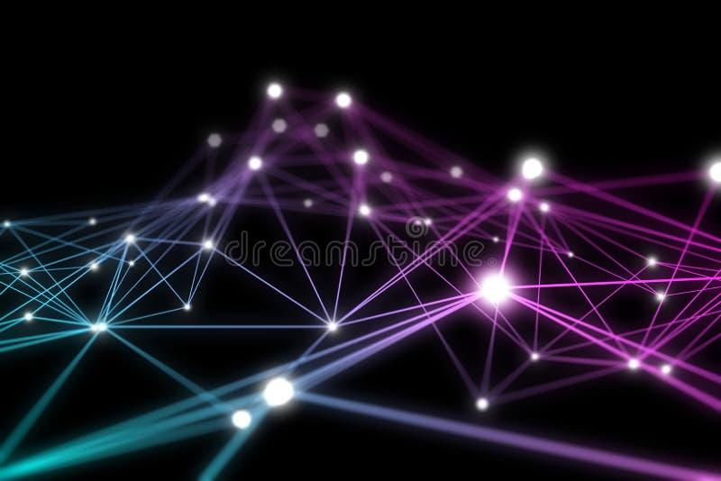 Maille colorée du wireframe 3D avec les points de connexion rougeoyants illustration stock