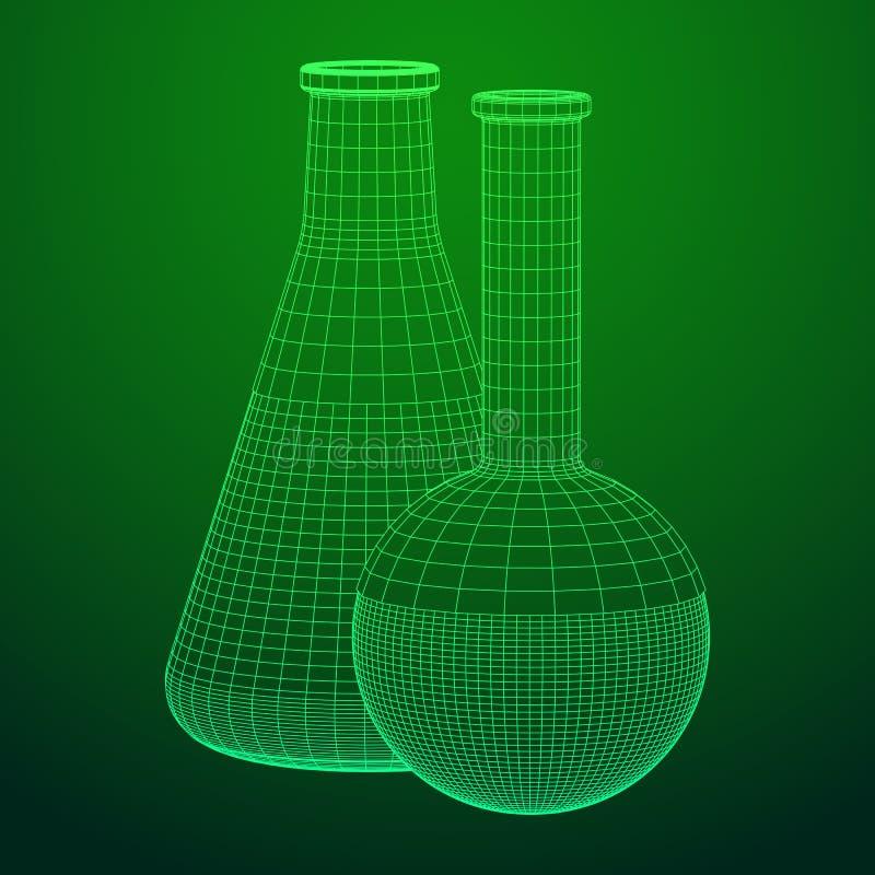 Maille de wireframe de tube à essai basse poly illustration de vecteur