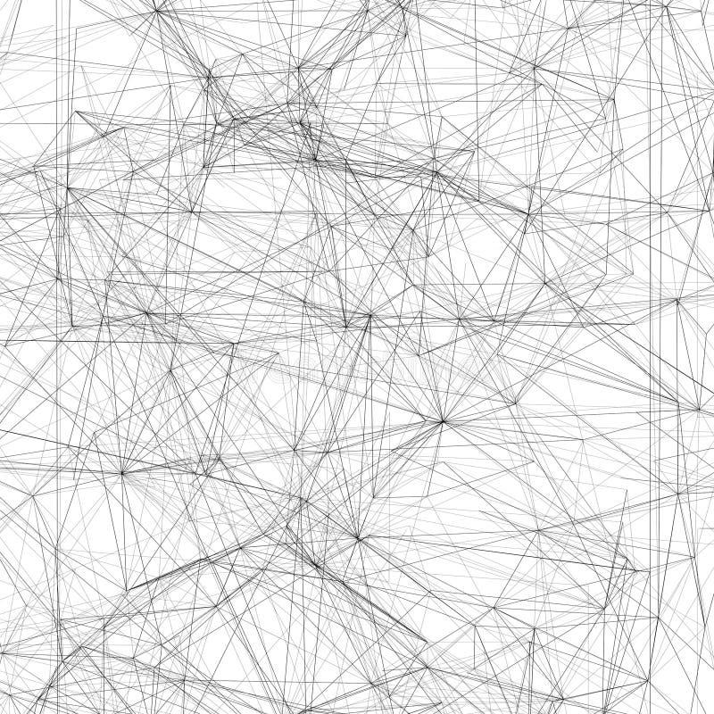 Maille noire de fil-cadre au-dessus du fond blanc, 3d illustration stock