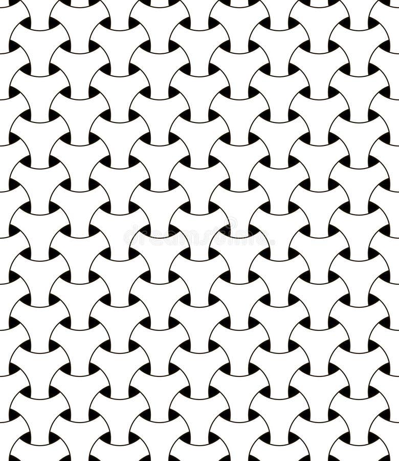 Maille triangulaire de maille de modèle d'illusion géométrique sans couture de vecteur prenant les cercles au filet noirs et blan illustration stock