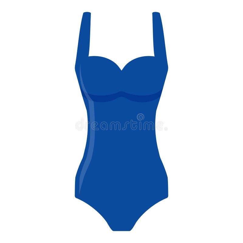Maillot de bain bleu de femmes d'isolement sur le fond blanc Maillot de bain de bikini pour la natation Tankini de mode illustration libre de droits