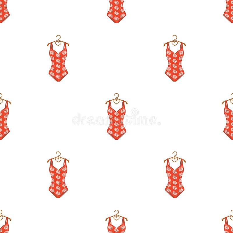 Maillot de bain rouge se brisant avec une copie des roses Usage de plage Icône simple de Swimcuits en stock de symbole de vecteur illustration stock