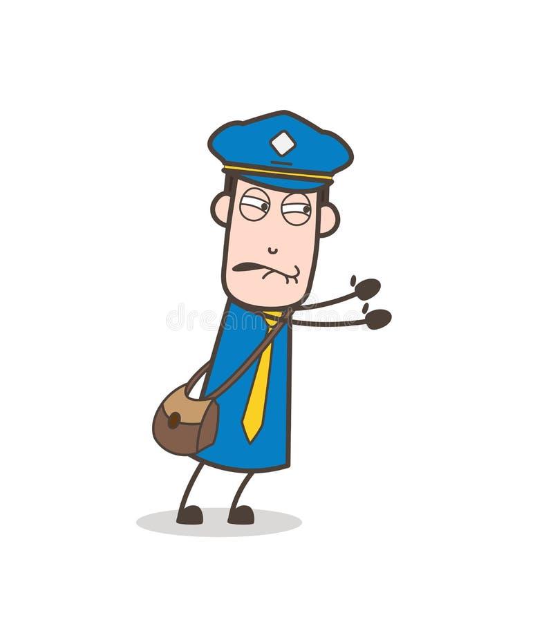 Mailman charakter Próbuje Pchać z Full Force ilustracja wektor