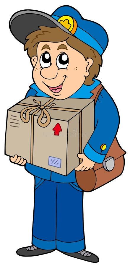 Mailman che trasporta casella royalty illustrazione gratis