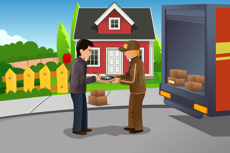 Mailman delivering a package. A vector illustration of mailman delivering package vector illustration