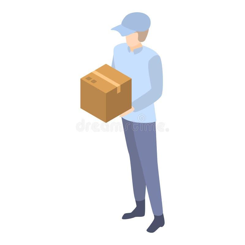 Mailman dostawy pudełka ikona, isometric styl ilustracja wektor