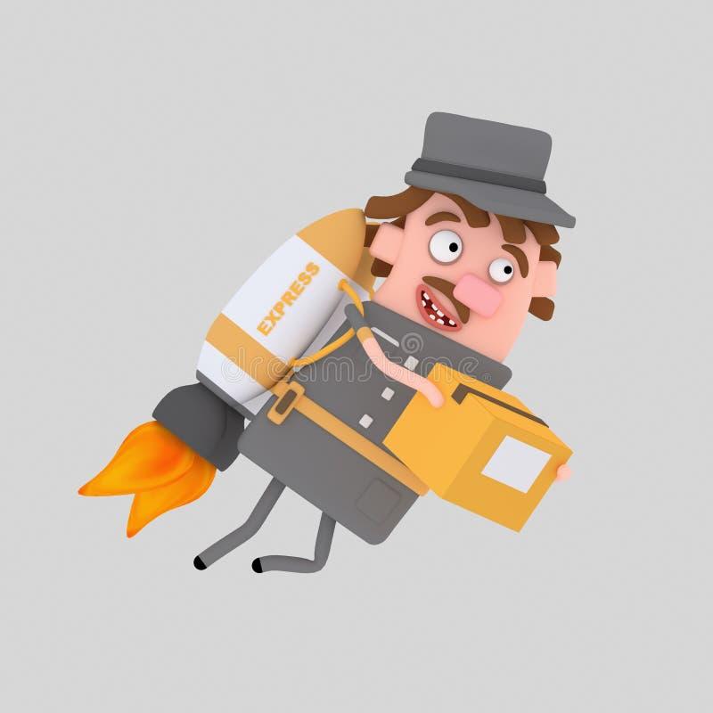 Mailman holding box flying on rocket . 3D vector illustration
