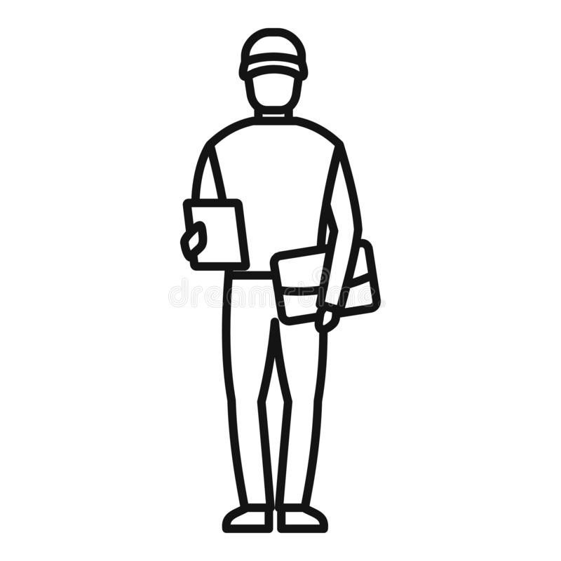 Mailman ikona, konturu styl ilustracja wektor