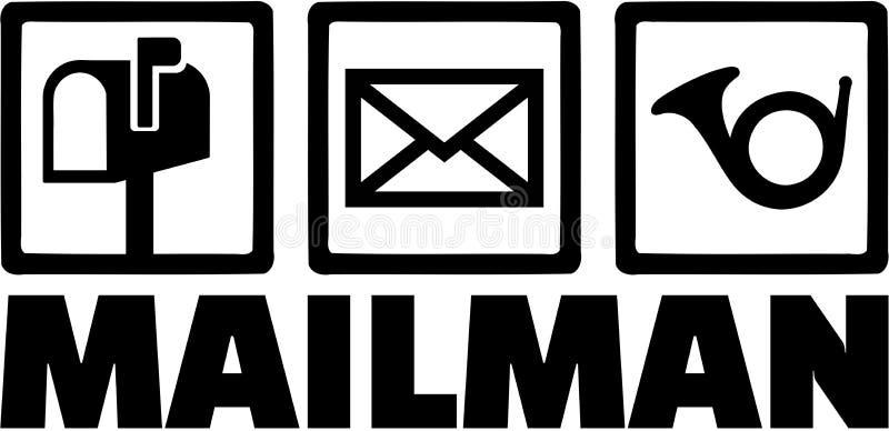Mailman ikony z stanowiskiem ilustracja wektor
