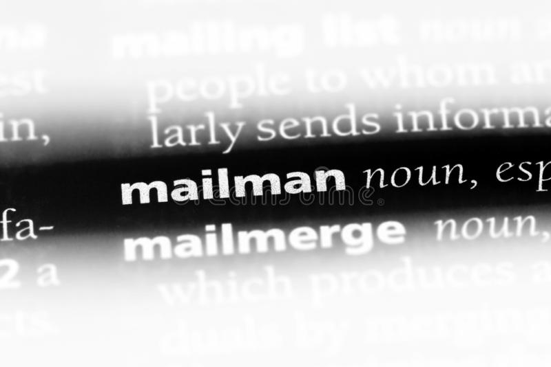 Mailman. Word in a dictionary.  concept stock images
