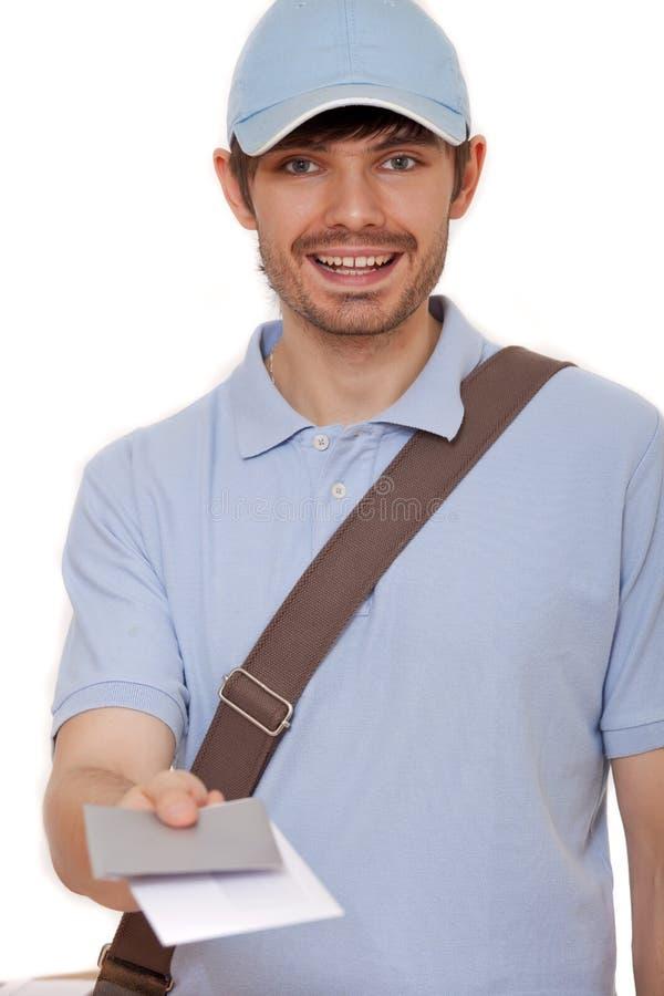 Mailman mit Zeichen lizenzfreie stockfotos