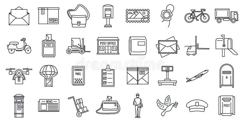 Mailman przewoźnika ikony ustawiać, konturu styl ilustracji