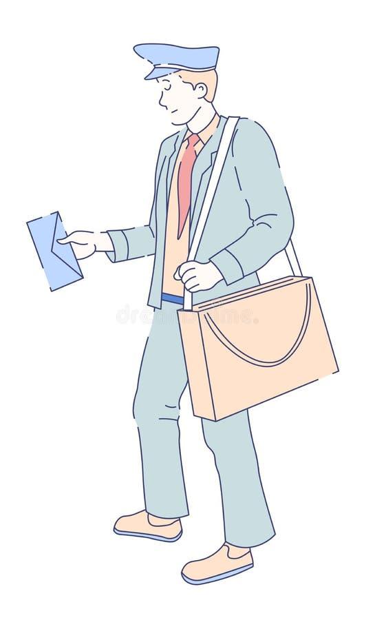 Mailman z torbą i listowa poczta dowodzimy dostawę ilustracji