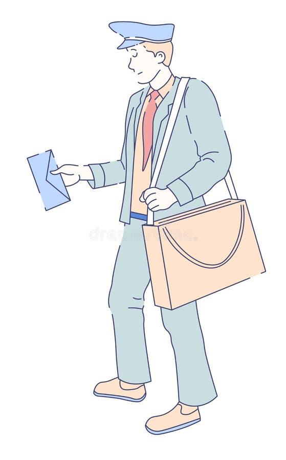 Mailman z torbą i listowa poczta dowodzimy dostawę royalty ilustracja