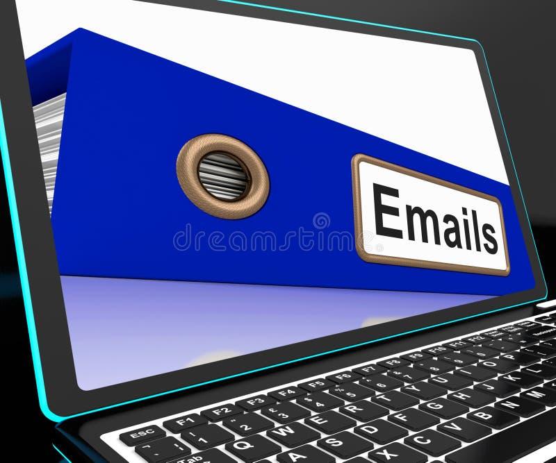 Mails File On Laptop Shows Online Correspondence royalty free illustration