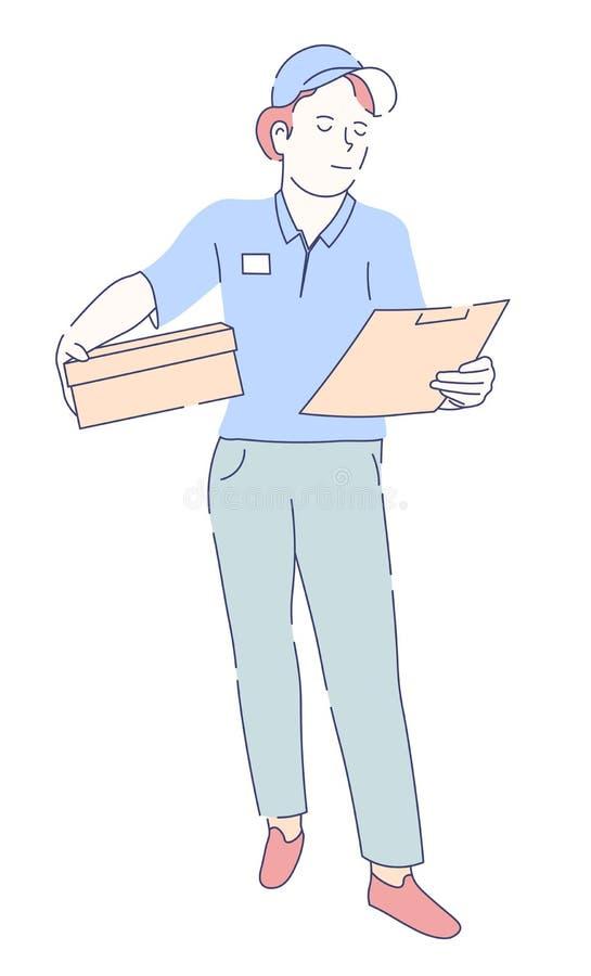 Mailwoman en uniforme con el paquete y el documento en servicio de entrega de la libreta stock de ilustración