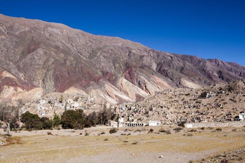 Maimara -画家的调色板五颜六色的山在Jujuy, Nortern阿根廷 免版税库存照片