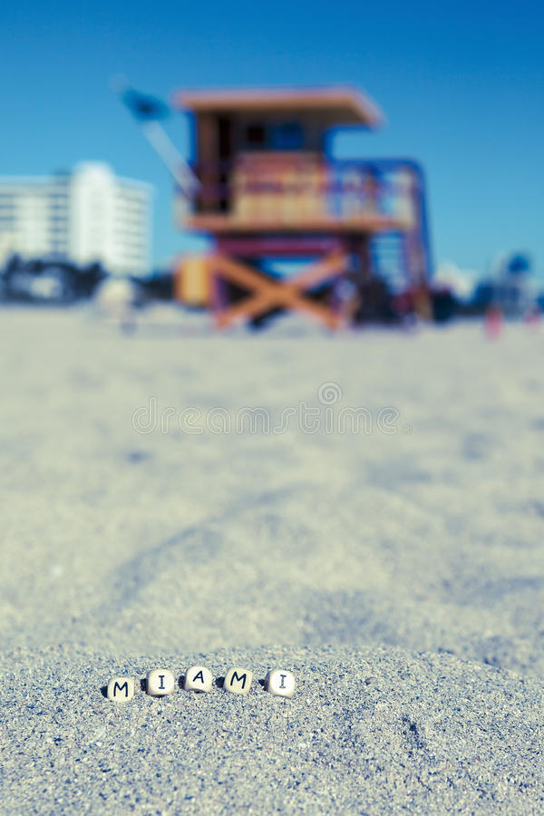 Maimi Southbeach, lifeguard house with letters on the sand. Florida, USA royalty free stock photography