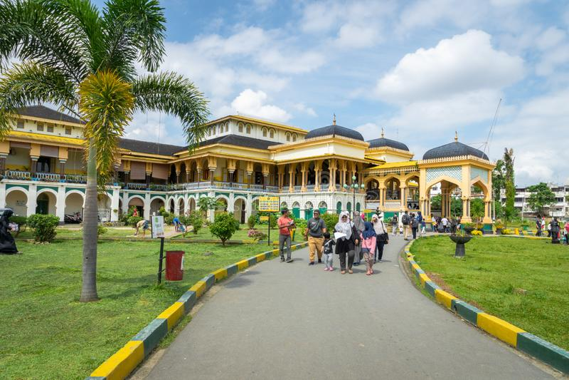 Maimun Palace o palazzo in Medan, la Sumatra Settentrionale, Indonesia di Maimoon fotografia stock