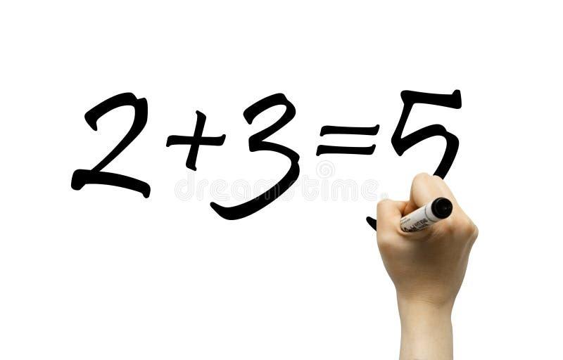 Main écrivant la formule simple de maths photos stock