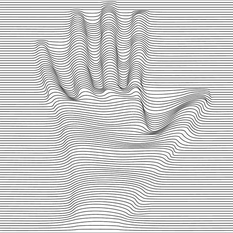 Main abstraite d'art op de vecteur de moirage Ornement noir et blanc graphique monochrome illustration libre de droits