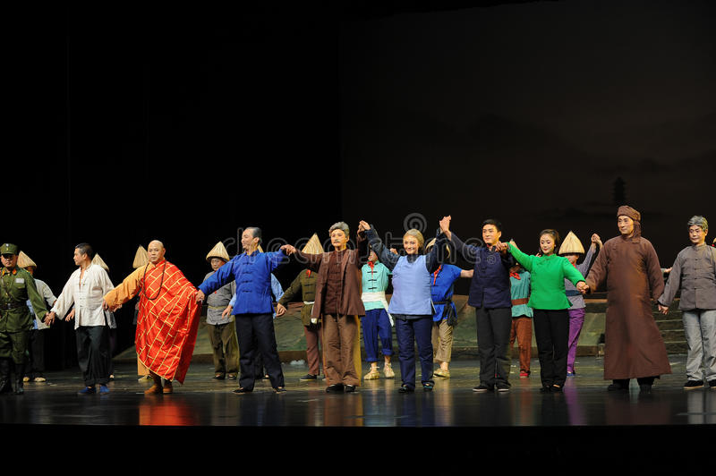 The main actors curtain call- Jiangxi opera a steelyard. Jiangxi opera a steelyard is adapted from a true story: the last century fortys, the protagonists father stock photo