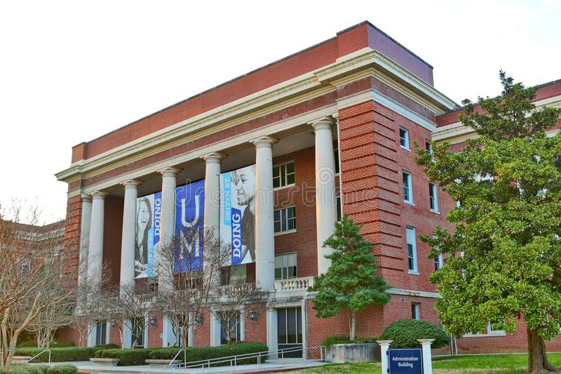 Main Administration Building at The University of Memphis. College Administration building at the University of Memphis in Memphis, Tennessee stock photo