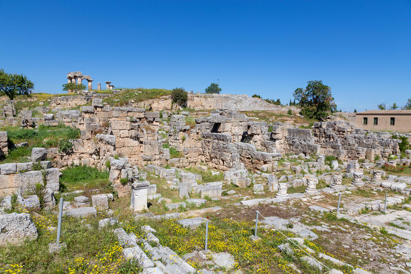 Main Agora of ancient Corinth, Peloponnese, Greece. Corinth, or Korinth was a city-state (polis) on the Isthmus of Corinth, the narrow stretch of land that joins stock photos