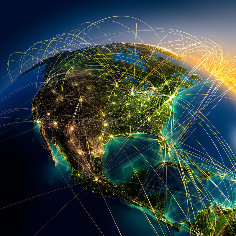 Free Main Air Routes In North America Royalty Free Stock Photo - 24802825