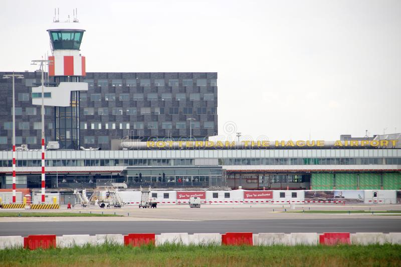 Main airport building from platform at Rotterdam the Hague Airport in theNetherlands royalty free stock photography
