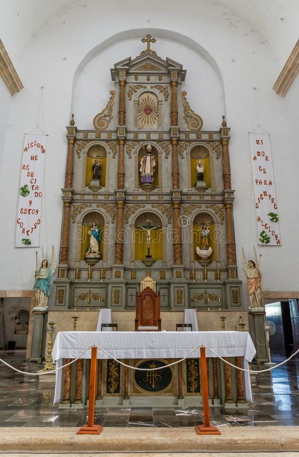 Main Altar in the Cathedral of San Gervasio in Valladolid, Mexico stock photography