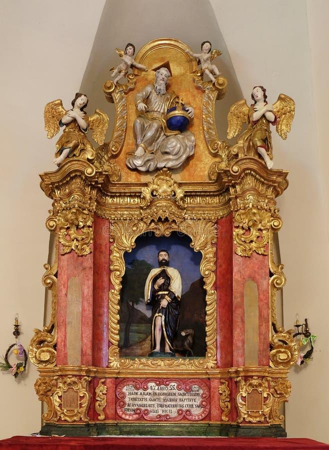 Main altar in chapel of Saint Roch, Zagreb. Croatia stock image