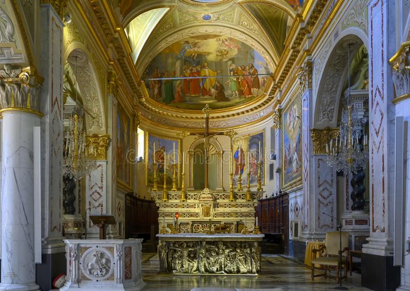 Main altar, Church of Saint Martin, Portofino, Italy royalty free stock photo