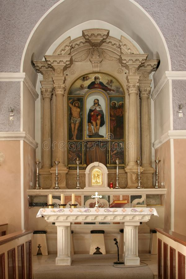 Main altar in the Church of Saint Roch in Lumbarda, Korcula island, Croatia.  stock image