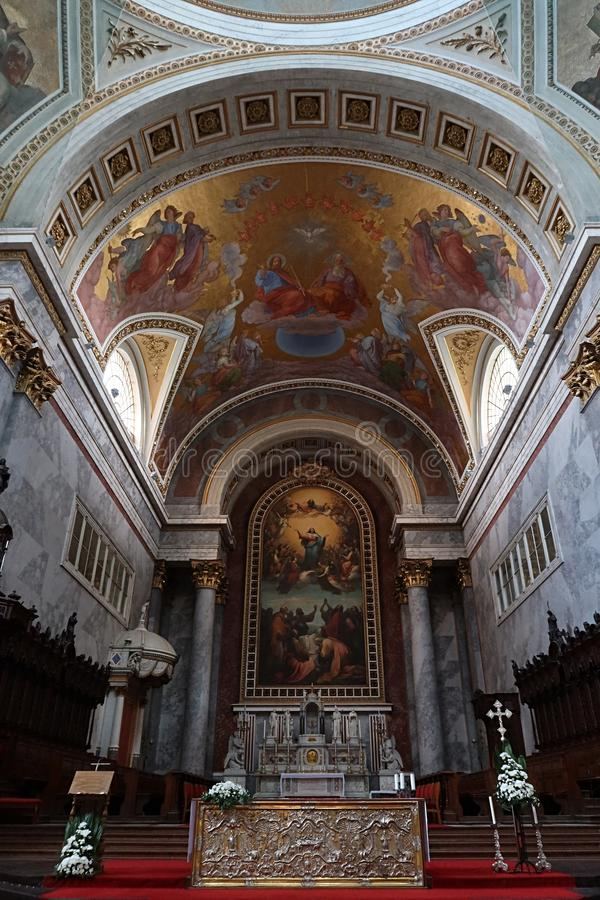 Main altar of Esztergom Primatial Basilica of the Blessed Virgin Mary Assumed Into Heaven and St Adalbert. Main altar of Esztergom Primatial Basilica of the royalty free stock image