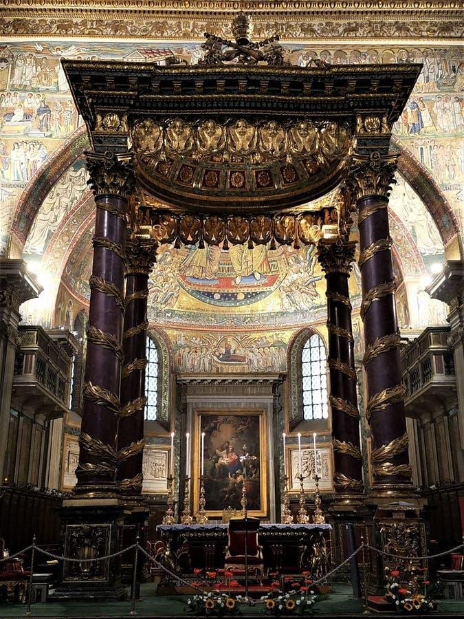 Main altar and aspe in St. Maria Maggiore Basilica stock images