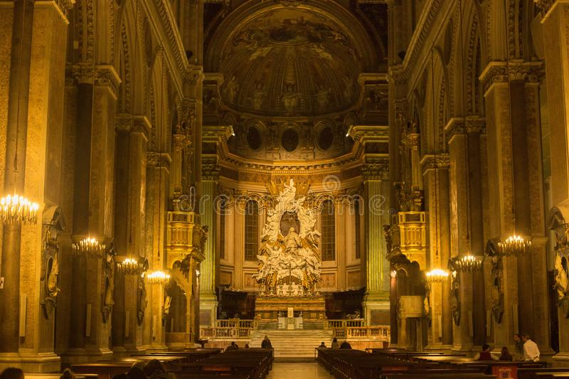 NAPLES, ITALY - OCTOBER 31, 2015: Main altar of the Naples Cathedral. stock photos