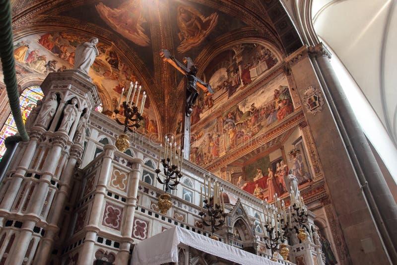 Main altar in Santa Maria Novella church royalty free stock image