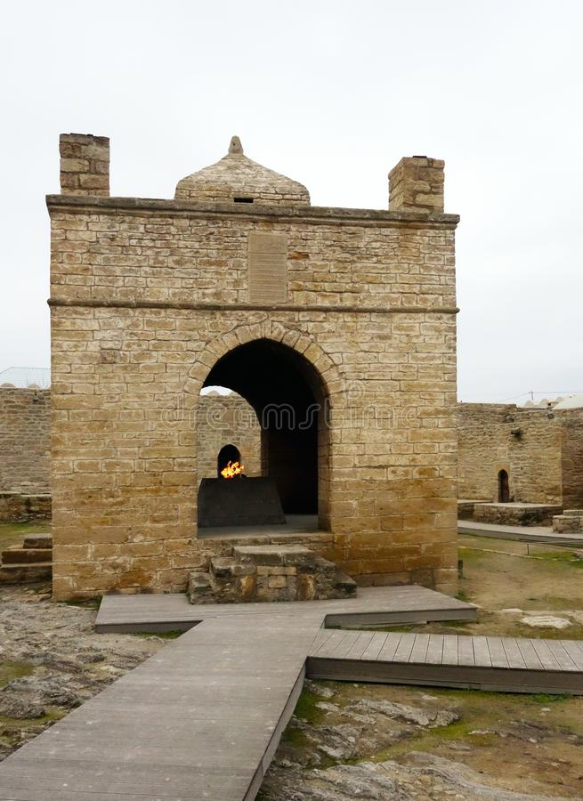 Main altar of temple Ateshgah. Fire Temple. Surakhani, Azerbaijan stock images