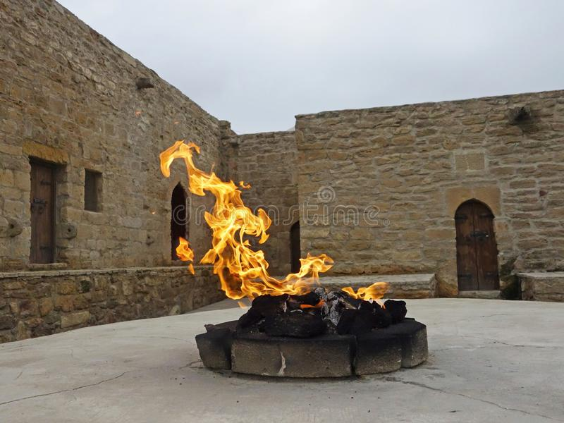 Main altar of temple Ateshgah. Fire Temple. Surakhani, Azerbaijan royalty free stock photo
