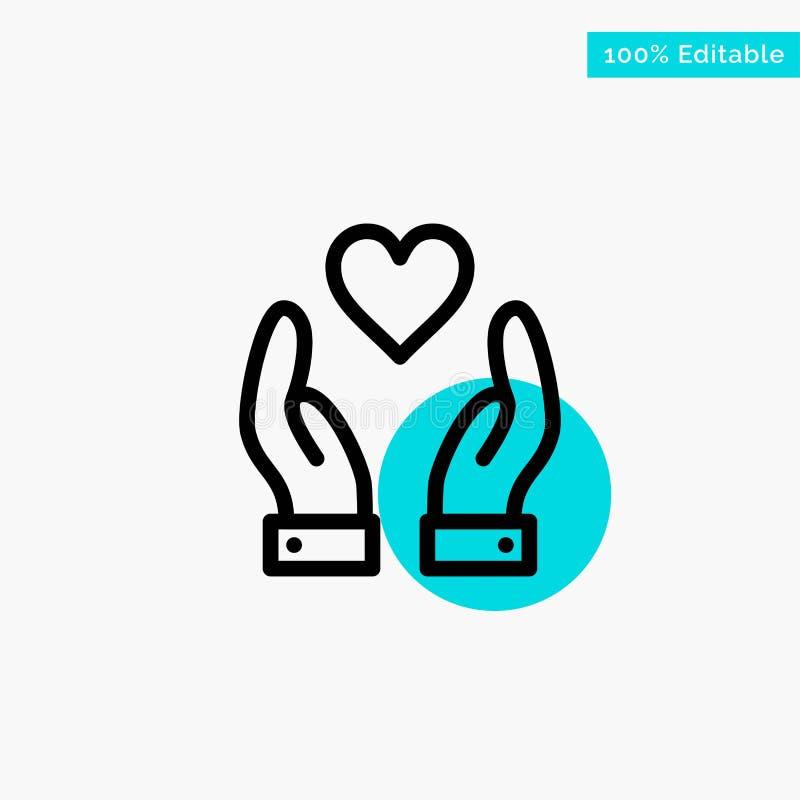 Main, amour, icône de vecteur de point de cercle de point culminant de turquoise de charité illustration de vecteur