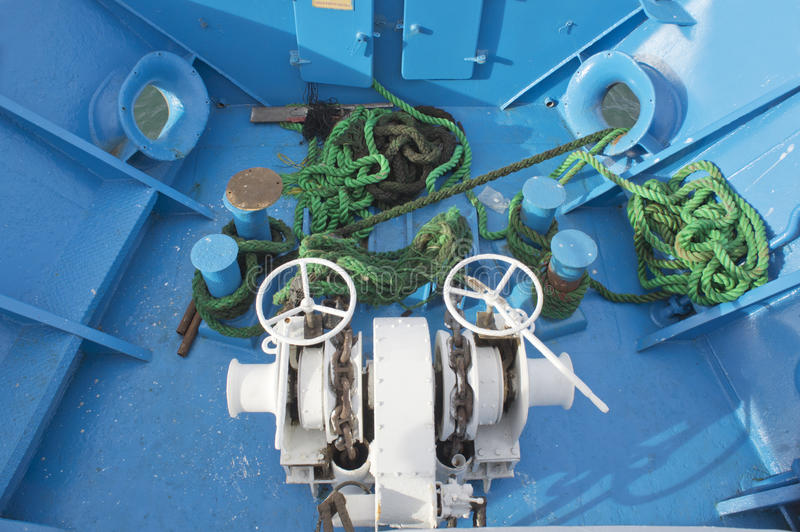 windlass winch green rope royalty free stock photography