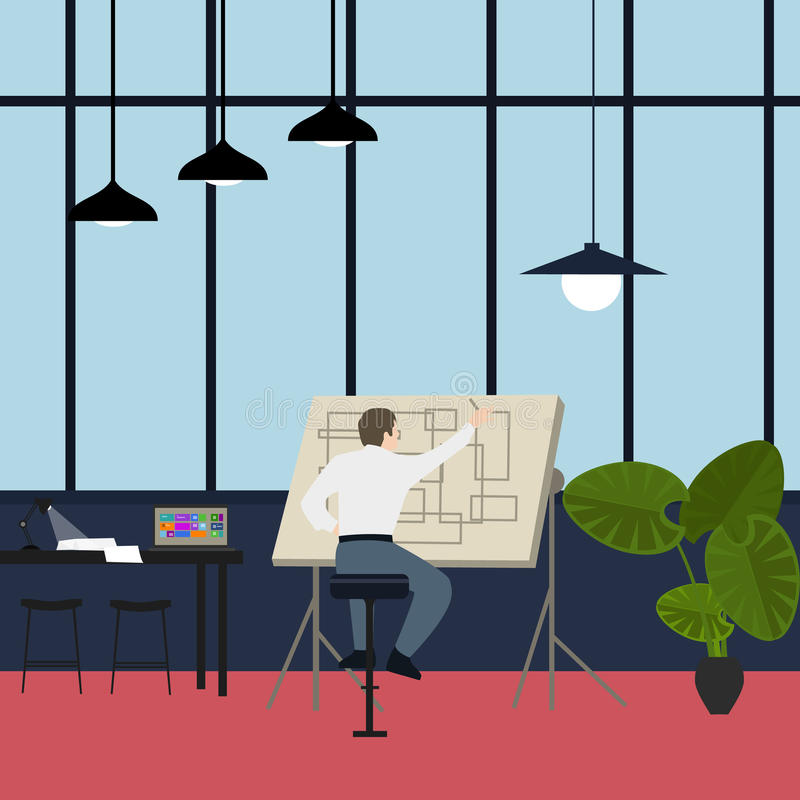 Main architect working at drawing desk in office. Vector vector illustration