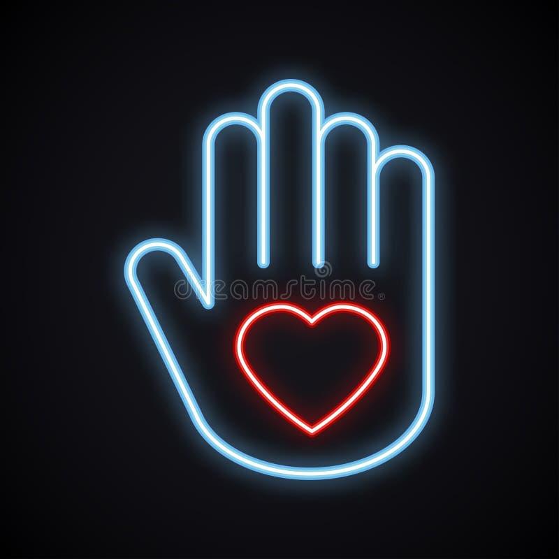 Main au néon rougeoyante avec le signe de coeur Symbole lumineux de charité Amour léger, relations, paix, volontaire, aide, soin illustration stock