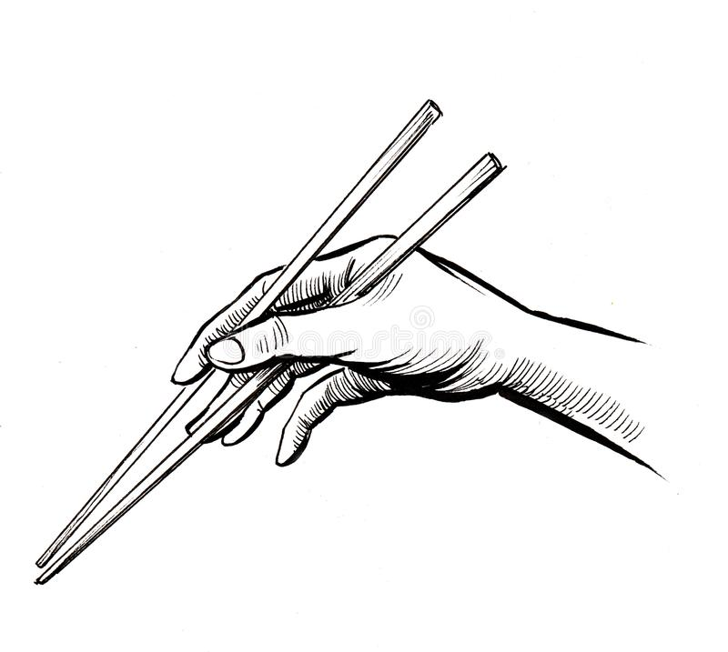 Main avec baguettes illustration libre de droits