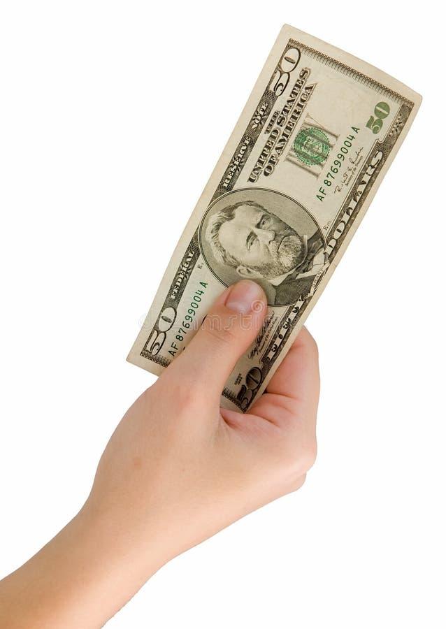 Main avec cinquante dollars images libres de droits