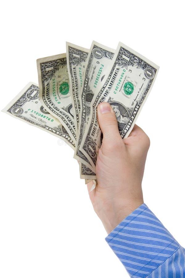 Main avec de l'argent image stock