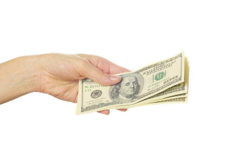 Main avec de l'argent images libres de droits